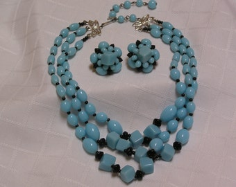 Japan powder blue glass oval and cube beads triple strand necklace and clip earrings