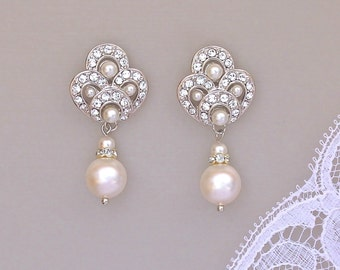 Deco Pearl Bridal Earrings, Ivory Pearl Earrings, Vintage  Earrings, Bridesmaids Earrings, MONIQUE I
