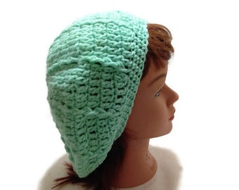 Mint Green Beret Green Circle Hat Cabled Tam Crochet Slouch Beanie French Beret Pastel Green Beret Cabled Beret Green Tam