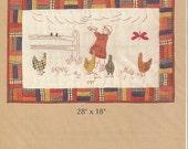 "Laurene Sinem Designs ""Feeding The Chickens"" Redwork Embroidery Pattern"