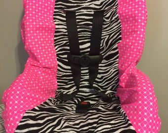 READY TO SHIP Neon Pink & Zebra animal print pattern fabric carseat cover toddler