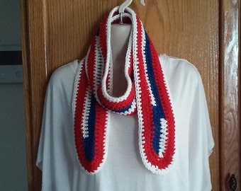Red, White and Blue Crocheted Scarf - Great for Buffalo Bills or NY Giants NFL Football Fans