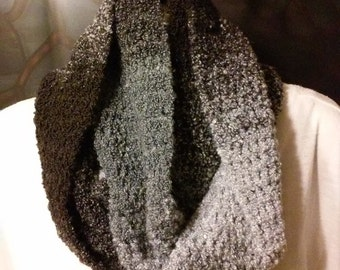 Crocheted Infinity Scarf - Black, Gray and White