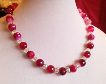 HOT PINK  Lace Agate beads are dramatic with Color & Crystal