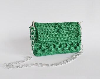 Crochet raffia bag green crochet purse shoulder raffia bag green crochet purse