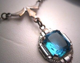 Antique Sapphire Paste Necklace Art Deco c.1920 Wedding Lavaliere