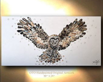 OWL Painting on Canvas Bird Original Great Horned Owl Artwork Raptor Gift for Home, Bird of Prey Animal Oil Mixed media art By OTO