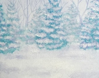 Snow Trees Painting