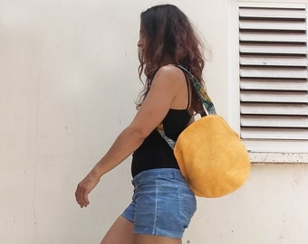 Summer SALE, Convertible Backpack Bag, Canvas Handbag with zipper, Yellow Shoulder Bag, bag handles, canvas backpack purse, summer bag ,canv