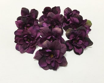 Silk Flowers - 10 Delphinium Blossoms in Eggplant Purple - 3 Inch Size - Artificial Flowers