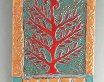 Ceramic Wall Hanging | Decorative Wall Art | Tree Art | Ceramic Wall Art | Wall Tile | Ceramic Tiles | Ceramic Art | Colorful Wall Art |