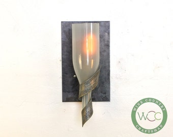 "ELEGANCE - ""Elysian"" - Wine Bottle Wall Sconce - 100% RECYCLED"