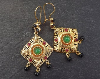 Dangly Gemstone Ethnic Turkish Earrings - Black Violet and Emerald Green Jade - Gold Plated Brass