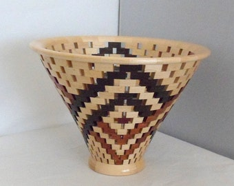 Open Segmented Vase Wood Vessel Handmade Decorative Vase Petals
