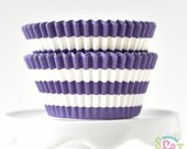 Rugby Stripe Purple BakeBright GREASEPROOF Baking Cups Cupcake Liners | ~30