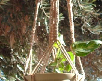Macrame Plant Hanger Vintage Style 40 inch BEADED with Sand cord (4mm) Choose Color