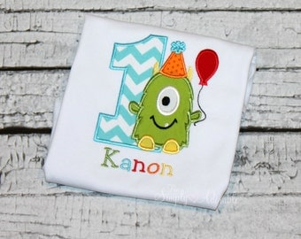 Monster Birthday Shirt, Personalized Monster Shirt, Monster Bash, Little Monster, Customize with your choice of fabric and thread colors