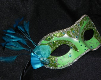 Feather Masquerade Mask in Shades of Green, Teal and Silver