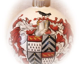 Family crest- Coat of Arms hand painted on 4 inch Christmas ornament