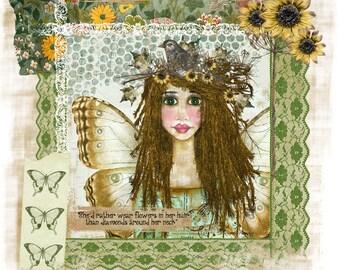 Flower In Her Hair Handmade Loose Canvas.