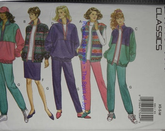 SIze 6 8 10 12 14 Butterick 3081 Casual Athletic Fashion Wardrobe Jacket Vest Skirt Pants Vintage Womens Misses  Uncut Sew Sewing Pattern