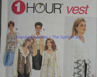 SIze 18 20 22 24 Simplicity 8744 Easy Lined Vest Below Hips  Vintage Womens Misses  Uncut Sew Sewing Pattern