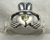 Peridot Claddagh Ring, August birthstone, Recycled Sterling Silver, Celtic
