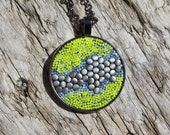 Round Micromosaic Pendant/Necklace with 24 Inch Chain