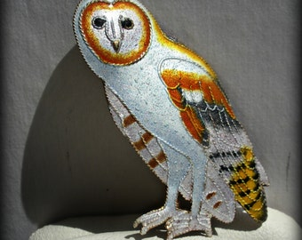 Sterling Silver Vermeil White Owl Brooch