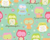 Owl & Co Fabric Owls Main in Teal by Riley Blake - 1 Yard