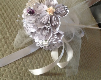 Flower Girl Wand Includes 4 Origami Sheet Music Flowers or Book or Map Flowers and can be customized