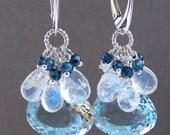 VALENTINES DAY SALE Swiss Blue Topaz Blue Flash Moonstone Sapphire Blue Zircon Dangle Gemstone Cluster Earrings Bridal Earrings on Sterling
