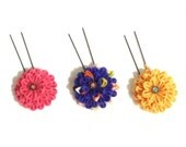 Kanzashi Flower hair pin. Tsumami zaiku. Kanzashi. silk flower. Japanese Traditional craft. Purple, pink, orange