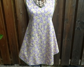 Vintage Fabric Full Apron violet yellow and white  floral print