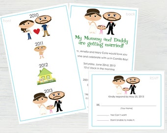 Wedding Story Invitation Set – Featuring You and Your Groom as Cartoons! Wedding Timeline, The Story of Us, Our Story Begins Here, Funny