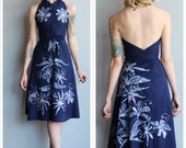 1970s Dress // Rainforest Wrap Halter Dress // vintage 70s dress