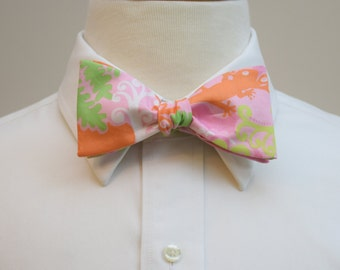 Men's Bow Tie, rose pink Checking In Lilly print, pink, orange, green bow tie, wedding bow tie, groom bow tie, groomsmen gift, prom bow tie