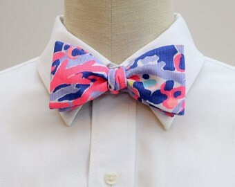 Men's Bow Tie, multi Shrimply Chic, Lilly print men's bow tie, wedding party bow tie, hot pink purple bow tie, prom bow tie, groom bow tie,