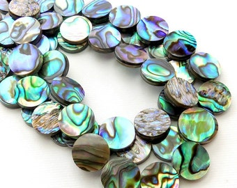 Abalone Shell Flat Coin, 11mm - 12mm, Natural Paua Shell, Doublet, Multi Colored, Half Strand, 17pcs - ID 2139