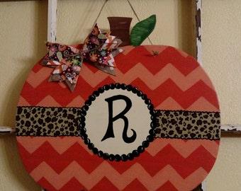Pumpkin handpainted door hanger... Ready to be personalized