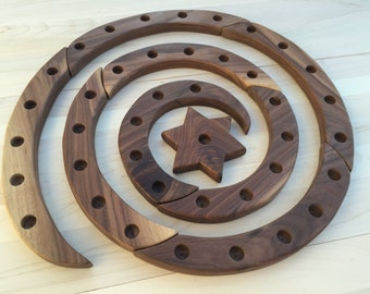 Wooden Spiral Candle Holder for Birthdays, Advent, and Lent