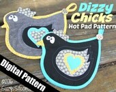 chicken, hen, rooster, hot pad, quilted, pot holder, digital pattern, pattern, diy, sewing, quilting