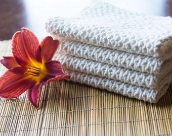 Cotton Cream Hand Knit Dishcloth