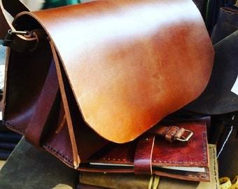 Erickson Satchel / Brown Leather Satchel Bag / Custom Leather Messenger / Hand stitched Leather Bag / Brown Laptop Bag / Bridle Leather