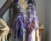 RESERVED For Margie Unique Art To Wear Delicate Jacket/Sweater WISTERIA Boho Victorian Style Hippie Gipsy Tattered