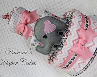 Elephants Baby Diaper Cake Girls Shower Gift Centerpiece Pink