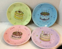 Avon happy birthday cake plates lot of 4 vintage collectible colorful
