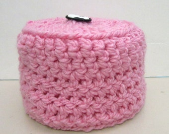 Pink Toilet Paper Roll Cover, Back Up Plan, TP Cozi Housewarming, Hostess Gift, Mega Plus Roll, Spare Roll Cover, Crochet Knit, Stylish