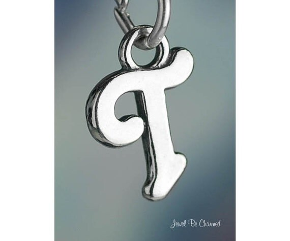 Script letter t charm alphabet initial solid 925 sterling for Letter t charm