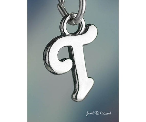 SCRIPT Letter T Charm Alphabet Initial Solid .925 Sterling Silver